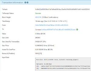 Ejemplo de transacción en Ethereum